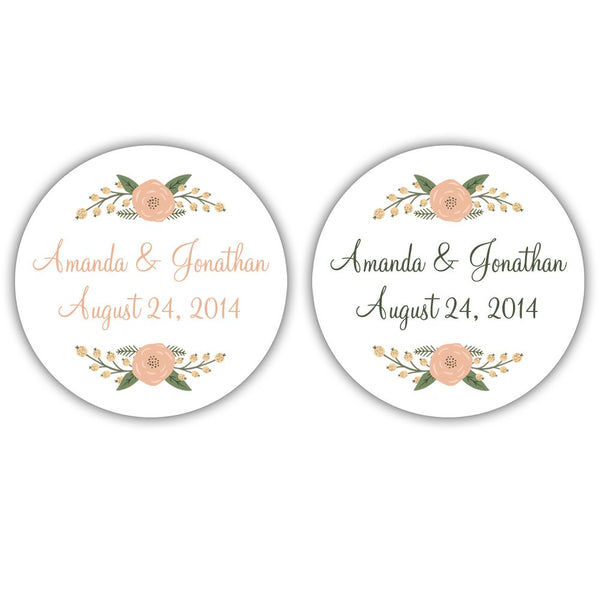 Rustic favor stickers 'Peachy Flowers' -  - Dazzling Daisies