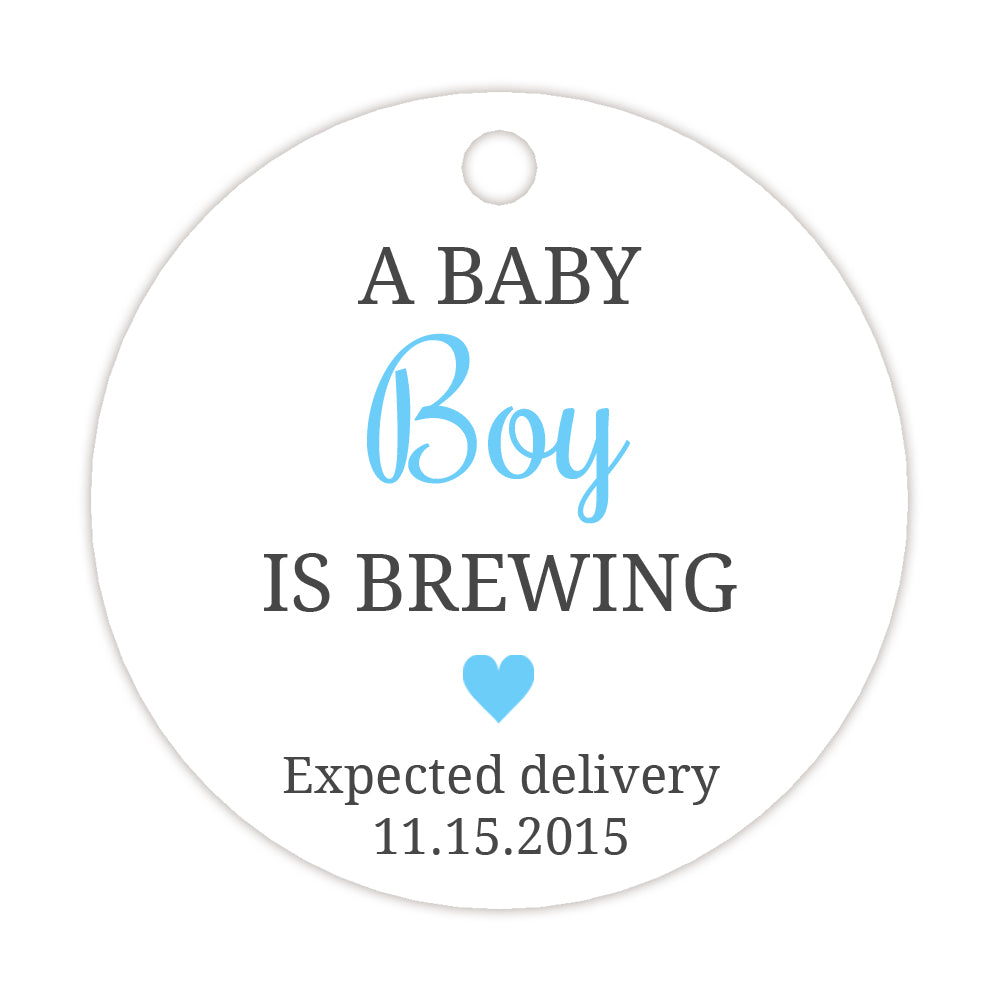 A baby is brewing tags - Neutral/Mint - Dazzling Daisies