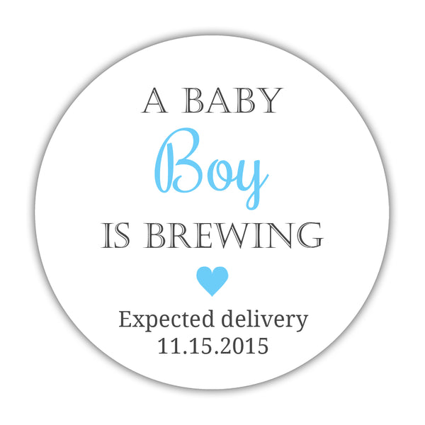 "A baby is brewing stickers - 1.5"" circle = 30 labels per sheet / Boy - Dazzling Daisies"