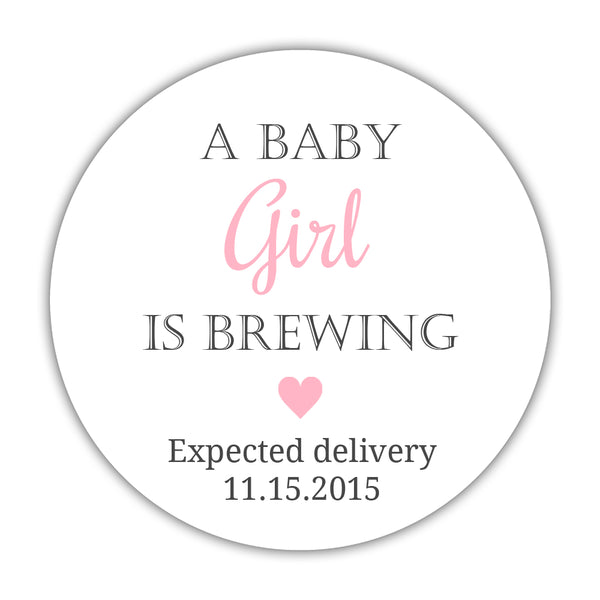 "A baby is brewing stickers - 1.5"" circle = 30 labels per sheet / Girl - Dazzling Daisies"