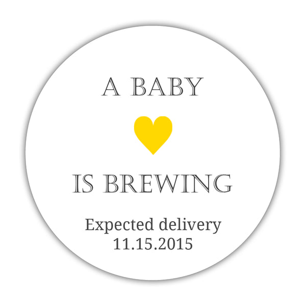 "A baby is brewing stickers - 1.5"" circle = 30 labels per sheet / Neutral/Yellow - Dazzling Daisies"