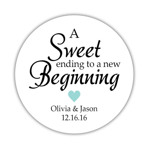 "A sweet ending to a new beginning stickers - 1.5"" circle = 30 labels per sheet / Aquamarine - Dazzling Daisies"