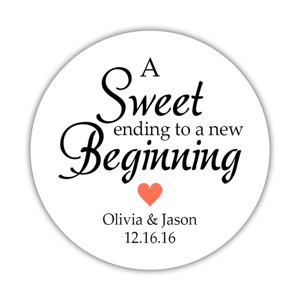 "A sweet ending to a new beginning stickers - 1.5"" circle = 30 labels per sheet / Coral - Dazzling Daisies"
