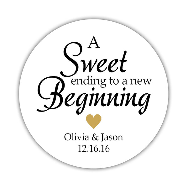 "A sweet ending to a new beginning stickers - 1.5"" circle = 30 labels per sheet / Gold - Dazzling Daisies"