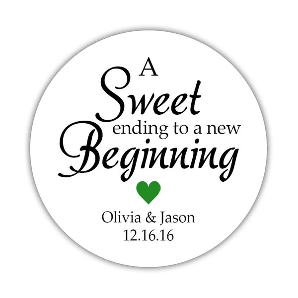 "A sweet ending to a new beginning stickers - 1.5"" circle = 30 labels per sheet / Green - Dazzling Daisies"
