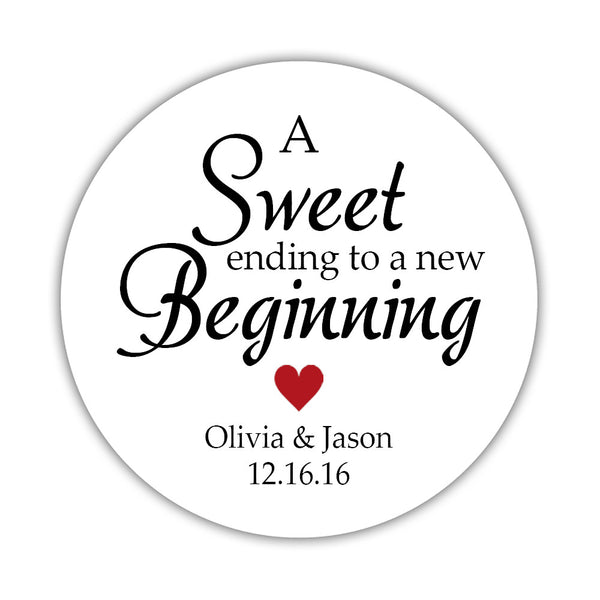 "A sweet ending to a new beginning stickers - 1.5"" circle = 30 labels per sheet / Indian red - Dazzling Daisies"