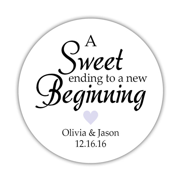 "A sweet ending to a new beginning stickers - 1.5"" circle = 30 labels per sheet / Lavender - Dazzling Daisies"