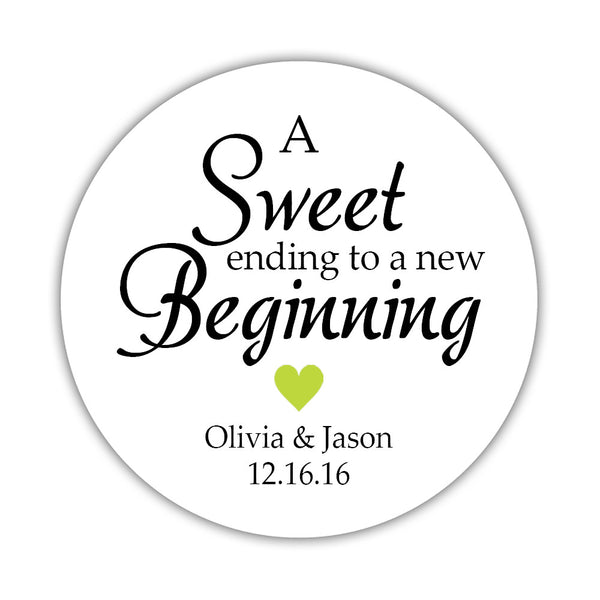 "A sweet ending to a new beginning stickers - 1.5"" circle = 30 labels per sheet / Lime - Dazzling Daisies"