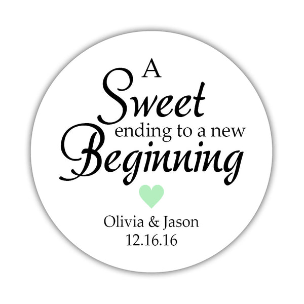 "A sweet ending to a new beginning stickers - 1.5"" circle = 30 labels per sheet / Mint - Dazzling Daisies"