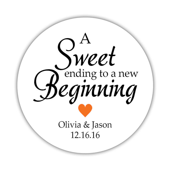 "A sweet ending to a new beginning stickers - 1.5"" circle = 30 labels per sheet / Orange - Dazzling Daisies"