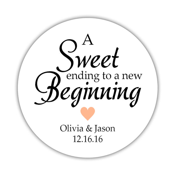 "A sweet ending to a new beginning stickers - 1.5"" circle = 30 labels per sheet / Peach - Dazzling Daisies"