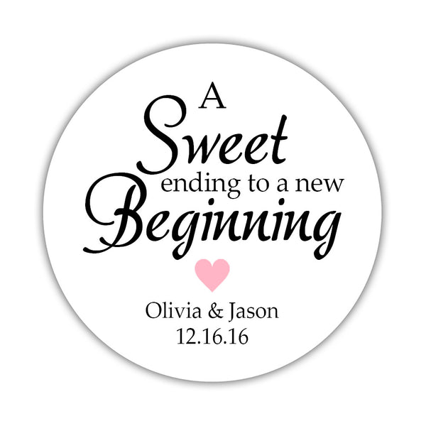 "A sweet ending to a new beginning stickers - 1.5"" circle = 30 labels per sheet / Pink - Dazzling Daisies"