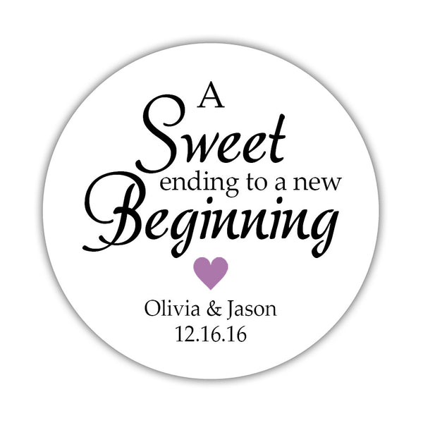 "A sweet ending to a new beginning stickers - 1.5"" circle = 30 labels per sheet / Plum - Dazzling Daisies"