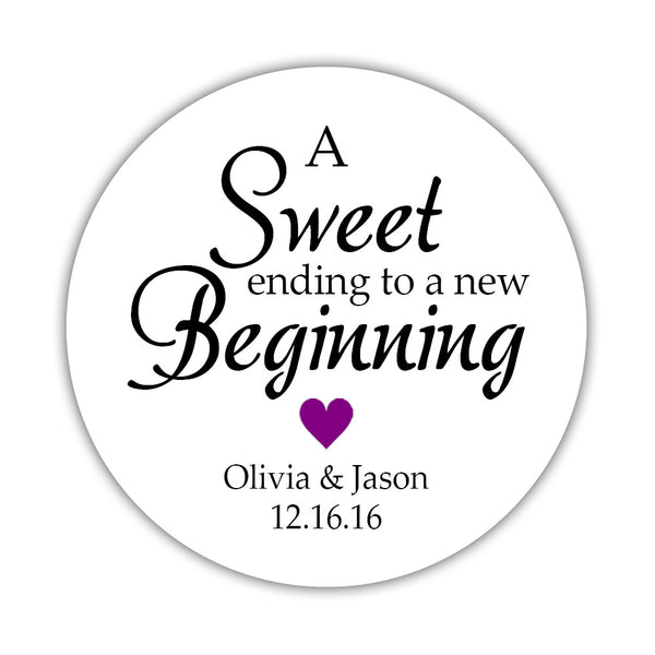 "A sweet ending to a new beginning stickers - 1.5"" circle = 30 labels per sheet / Purple - Dazzling Daisies"