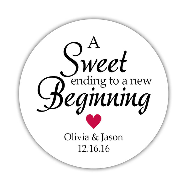 "A sweet ending to a new beginning stickers - 1.5"" circle = 30 labels per sheet / Raspberry - Dazzling Daisies"