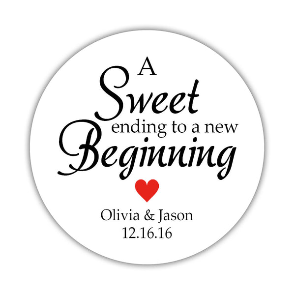 "A sweet ending to a new beginning stickers - 1.5"" circle = 30 labels per sheet / Red - Dazzling Daisies"