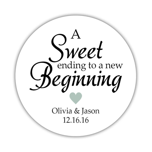 "A sweet ending to a new beginning stickers - 1.5"" circle = 30 labels per sheet / Sage - Dazzling Daisies"
