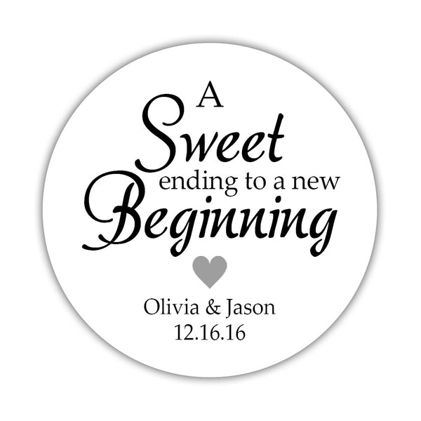 "A sweet ending to a new beginning stickers - 1.5"" circle = 30 labels per sheet / Silver - Dazzling Daisies"