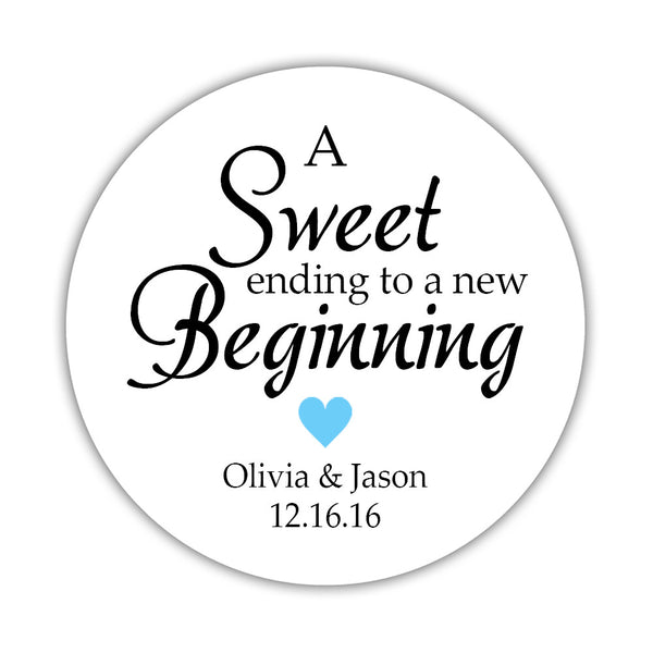 "A sweet ending to a new beginning stickers - 1.5"" circle = 30 labels per sheet / Sky blue - Dazzling Daisies"