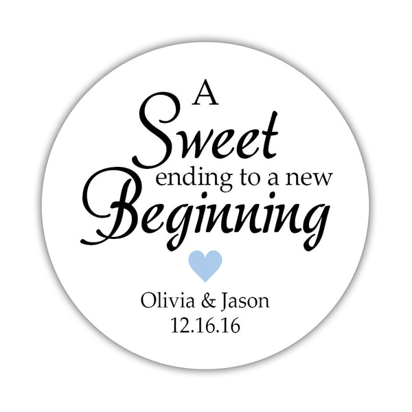 "A sweet ending to a new beginning stickers - 1.5"" circle = 30 labels per sheet / Steel blue - Dazzling Daisies"
