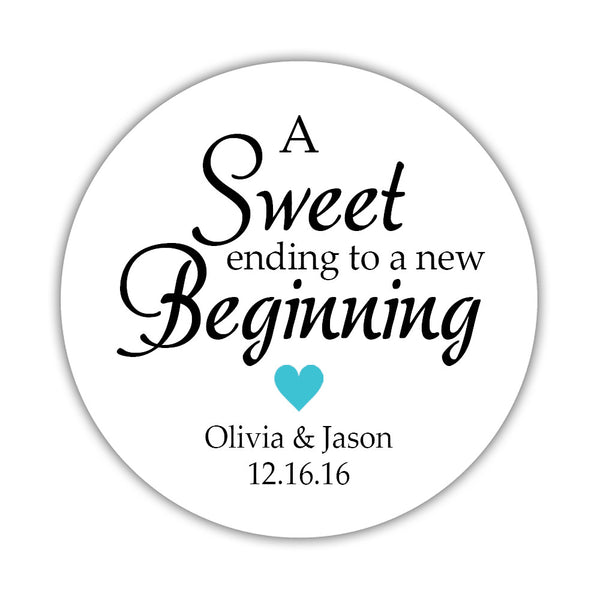 "A sweet ending to a new beginning stickers - 1.5"" circle = 30 labels per sheet / Turquoise - Dazzling Daisies"