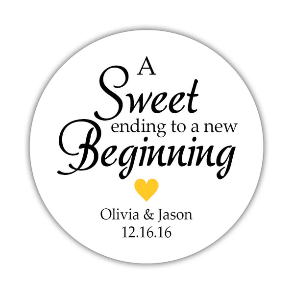 "A sweet ending to a new beginning stickers - 1.5"" circle = 30 labels per sheet / Yellow - Dazzling Daisies"