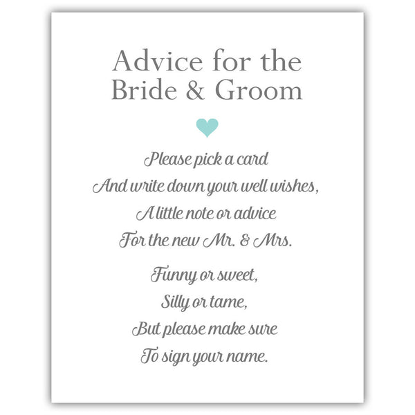 "Wedding advice sign 'Simple Elegance' - 5x7"" / Aquamarine - Dazzling Daisies"