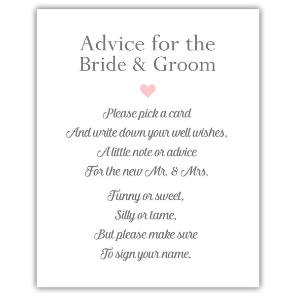 "Wedding advice sign 'Simple Elegance' - 5x7"" / Blush - Dazzling Daisies"