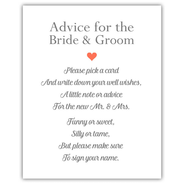 "Wedding advice sign 'Simple Elegance' - 5x7"" / Coral - Dazzling Daisies"