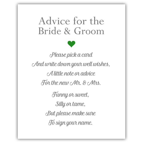 "Wedding advice sign 'Simple Elegance' - 5x7"" / Green - Dazzling Daisies"