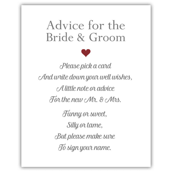 "Wedding advice sign 'Simple Elegance' - 5x7"" / Maroon - Dazzling Daisies"