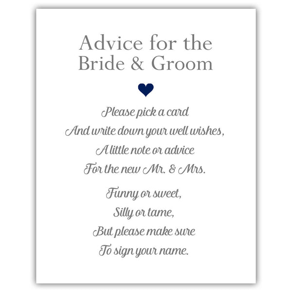 "Wedding advice sign 'Simple Elegance' - 5x7"" / Navy - Dazzling Daisies"