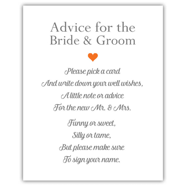 "Wedding advice sign 'Simple Elegance' - 5x7"" / Orange - Dazzling Daisies"