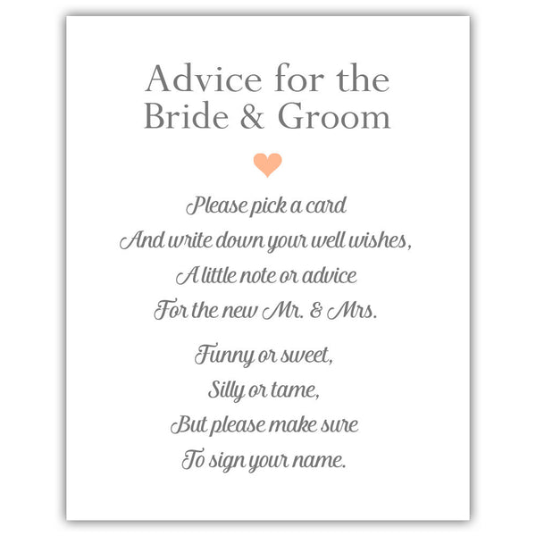 "Wedding advice sign 'Simple Elegance' - 5x7"" / Peach - Dazzling Daisies"