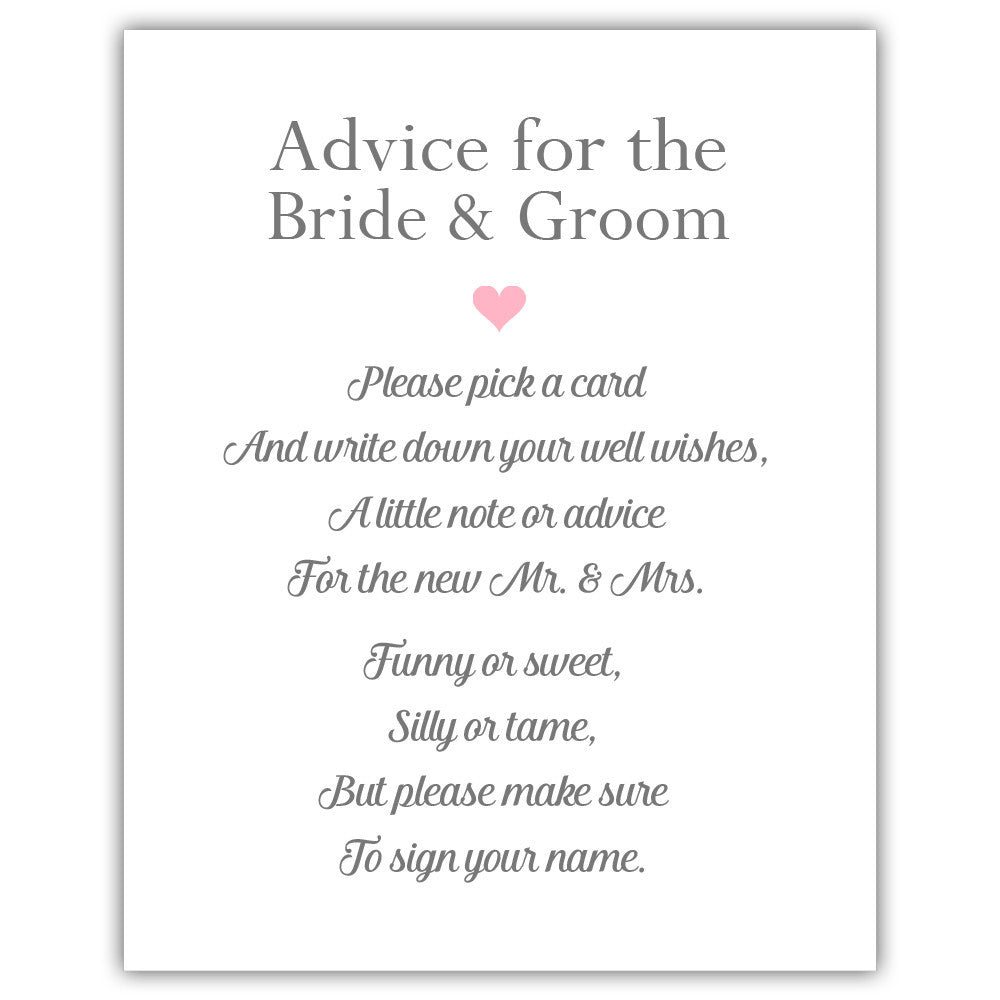 Wedding Advice Sign - Wedding Signage