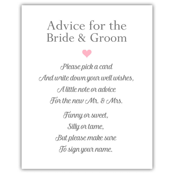 "Wedding advice sign 'Simple Elegance' - 5x7"" / Pink - Dazzling Daisies"