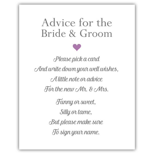 "Wedding advice sign 'Simple Elegance' - 5x7"" / Plum - Dazzling Daisies"