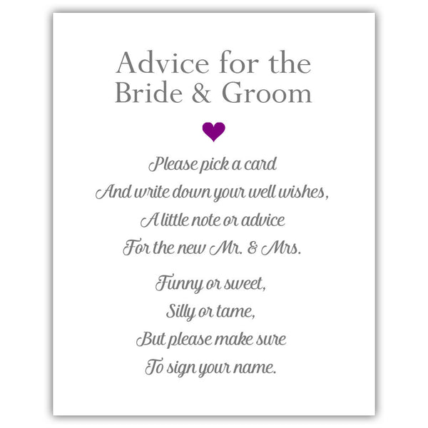 "Wedding advice sign 'Simple Elegance' - 5x7"" / Purple - Dazzling Daisies"