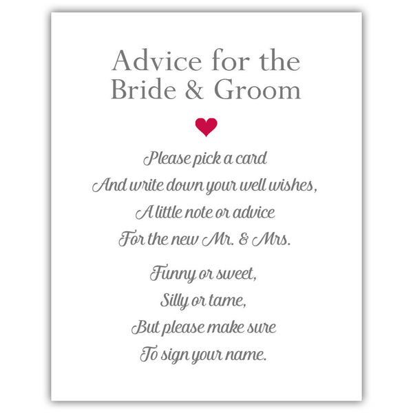 "Wedding advice sign 'Simple Elegance' - 5x7"" / Raspberry - Dazzling Daisies"