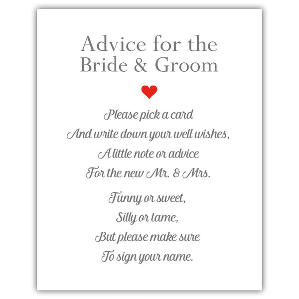 "Wedding advice sign 'Simple Elegance' - 5x7"" / Red - Dazzling Daisies"