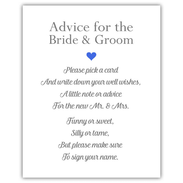 "Wedding advice sign 'Simple Elegance' - 5x7"" / Royal blue - Dazzling Daisies"