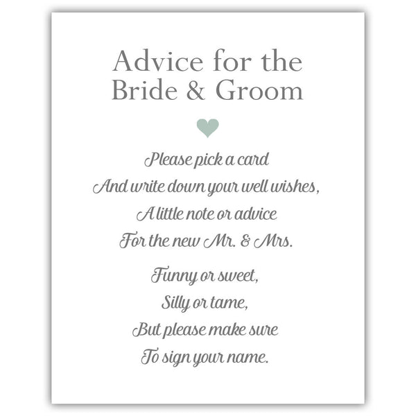 "Wedding advice sign 'Simple Elegance' - 5x7"" / Sage - Dazzling Daisies"