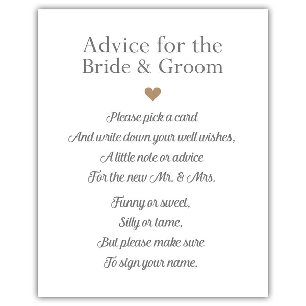 "Wedding advice sign 'Simple Elegance' - 5x7"" / Sand - Dazzling Daisies"