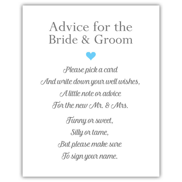 "Wedding advice sign 'Simple Elegance' - 5x7"" / Sky blue - Dazzling Daisies"