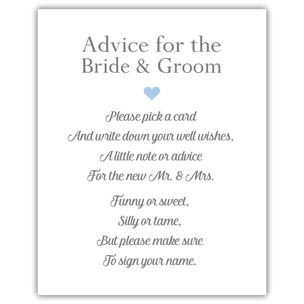 "Wedding advice sign 'Simple Elegance' - 5x7"" / Steel blue - Dazzling Daisies"