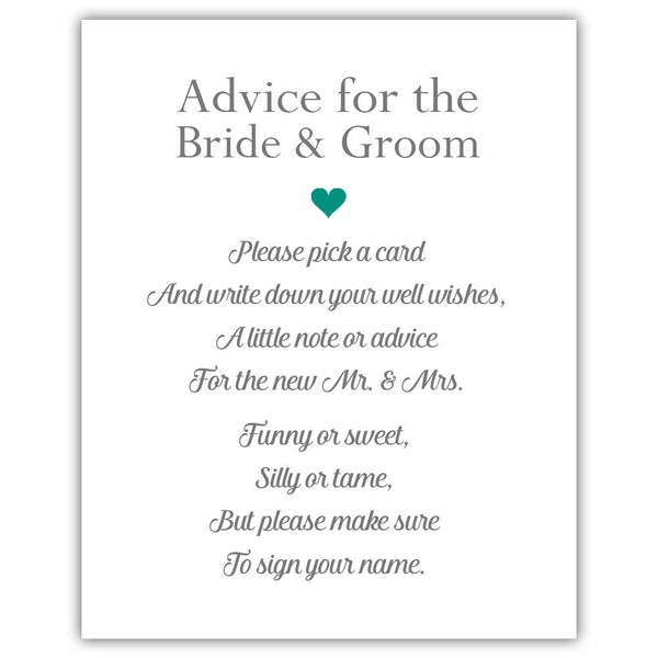 "Wedding advice sign 'Simple Elegance' - 5x7"" / Teal - Dazzling Daisies"