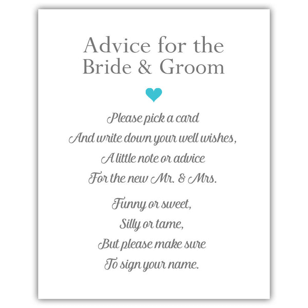 "Wedding advice sign 'Simple Elegance' - 5x7"" / Turquoise - Dazzling Daisies"