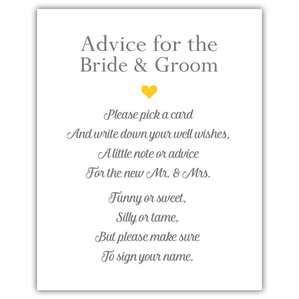 "Wedding advice sign 'Simple Elegance' - 5x7"" / Yellow - Dazzling Daisies"