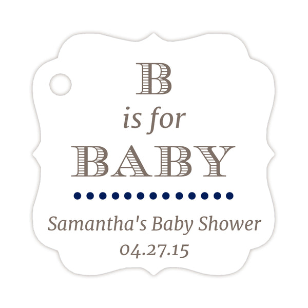 B is for baby tags - Navy - Dazzling Daisies