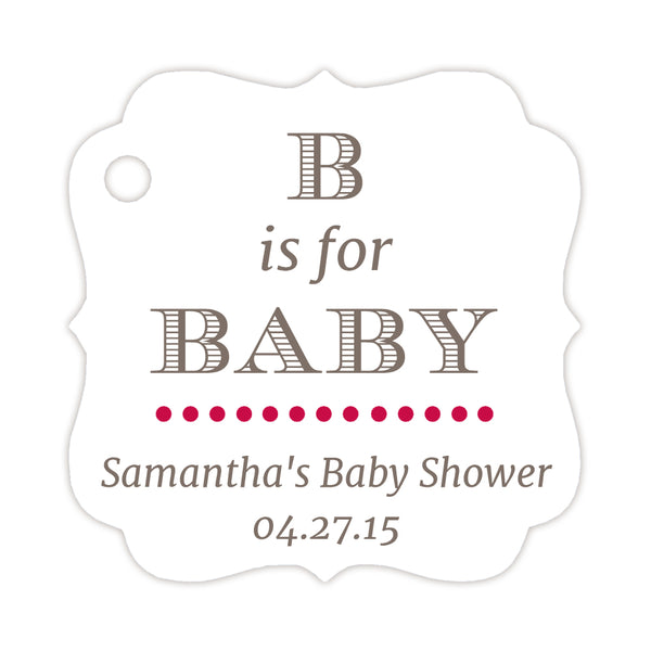 B is for baby tags - Raspberry - Dazzling Daisies
